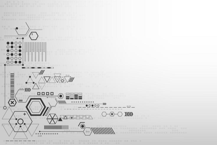 Concetto di tecnologia astratta geometrica in bianco e nero vettore