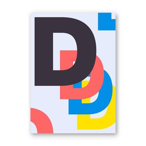 Poster di lettera D. vettore
