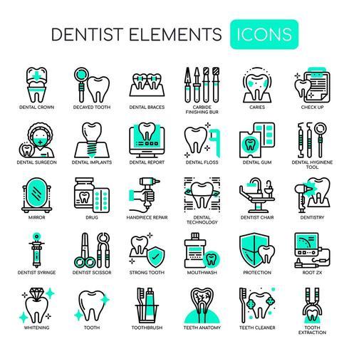 Set di icone dentista sottile linea e pixel icone perfette per qualsiasi progetto web e app. vettore