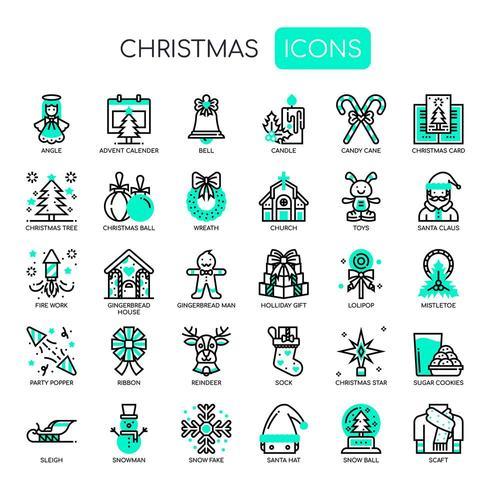 Elementi di Natale, linea sottile e icone perfette Pixel vettore