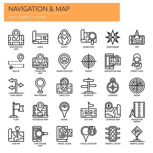 Mappa di navigazione Icone sottili e pixel perfetti vettore