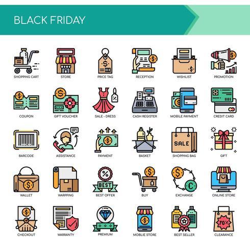 Icone nere perfette di Black Friday e Pixel vettore