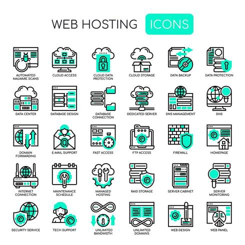 Icone di Web Hosting, Thin Line e Pixel Perfect vettore