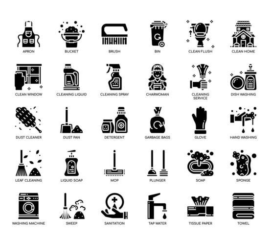 Elementi di pulizia, icone glifo vettore
