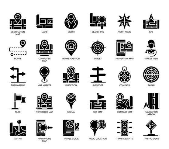 Icone del glifo della mappa di navigazione vettore