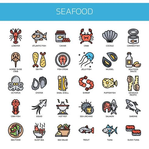 Frutti di mare, linea sottile e Pixel icone perfette vettore