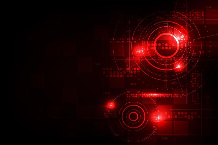 Concetto di tecnologia digitale incandescente rosso vettore