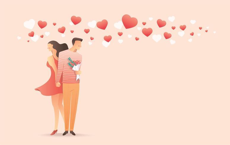 Uomo e donna che si tengono per mano per il San Valentino vettore