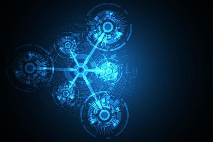 Disegni astratti di tecnologia rotonda incandescente vettore