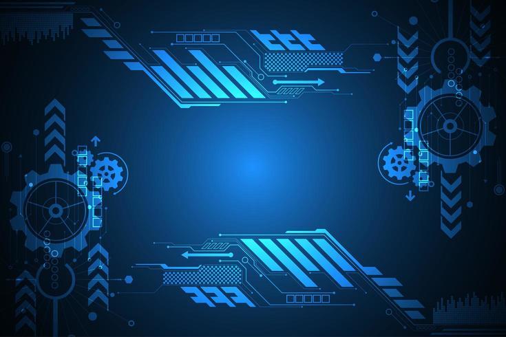 Cornice digitale blu incandescente tecnologia tech vettore