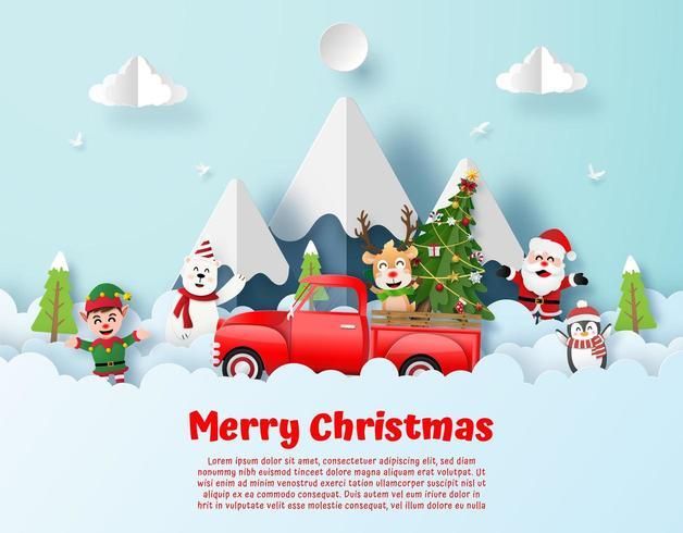 Cartolina di Natale origami stile cartolina vettore