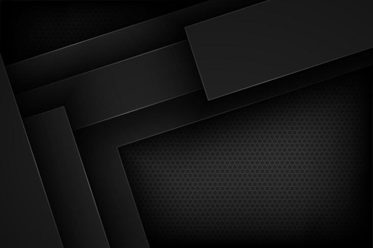 Sfondo nero forme geometriche sovrapposte vettore