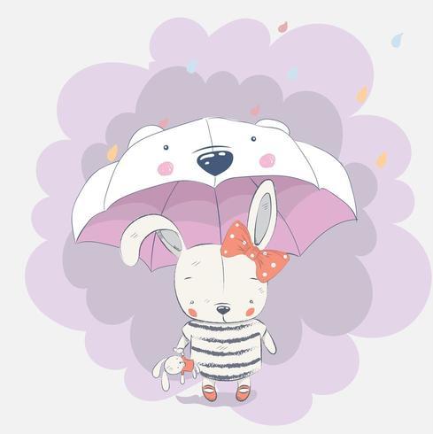 simpatico coniglio bambino sotto l'ombrello vettore
