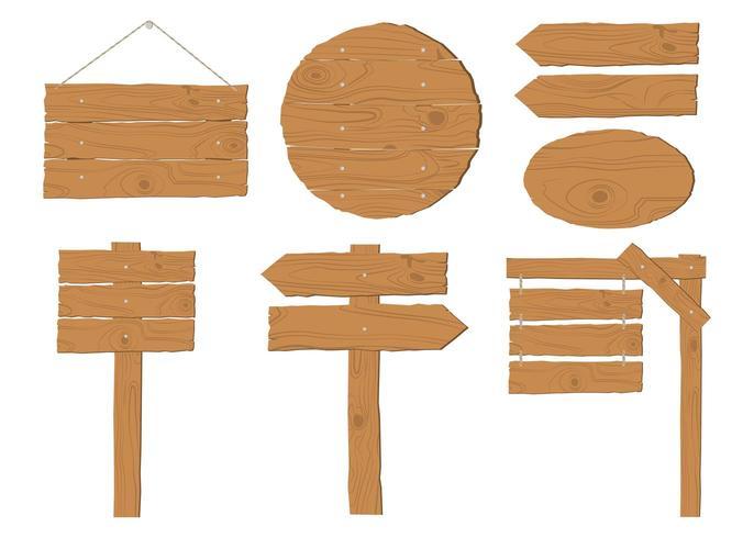 Collezione di insegne in legno vettore