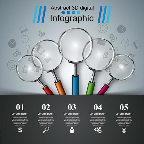 Infografica di affari. Icona Lente. vettore