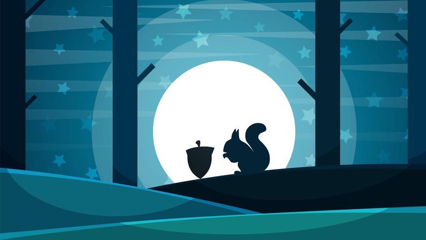 Paesaggio notturno di carta. Scoiattolo salta illustrazione. Stella, foresta, albero, luna. vettore