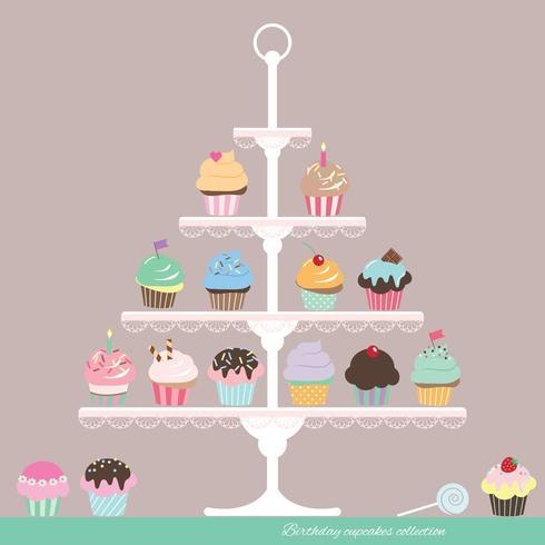 Cupcakes in stand. Disegno di compleanno. vettore