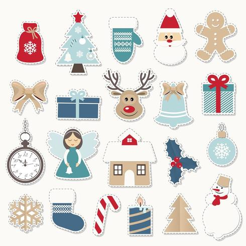 Set di adesivi festivi di Natale e Capodanno. vettore