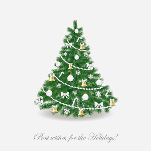 Albero di Natale. Decorato in stile tradizionale. Realistico. vettore