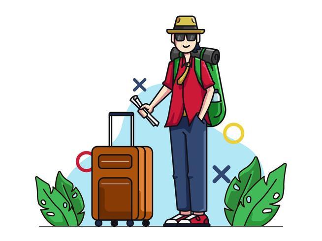 Carattere turistico con valigia vettore