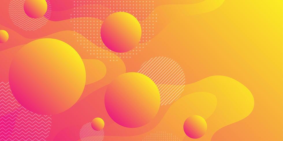 Sfondo di forma fluida giallo arancio con sfere vettore