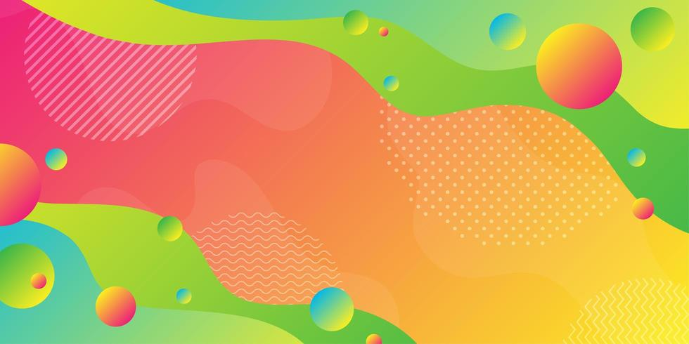 Forme fluide verde brillante e arancione con sfere sovrapposte vettore