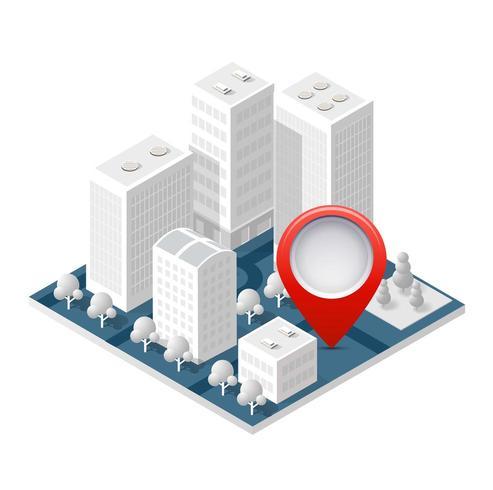 Mappa 3d città isometrica vettore
