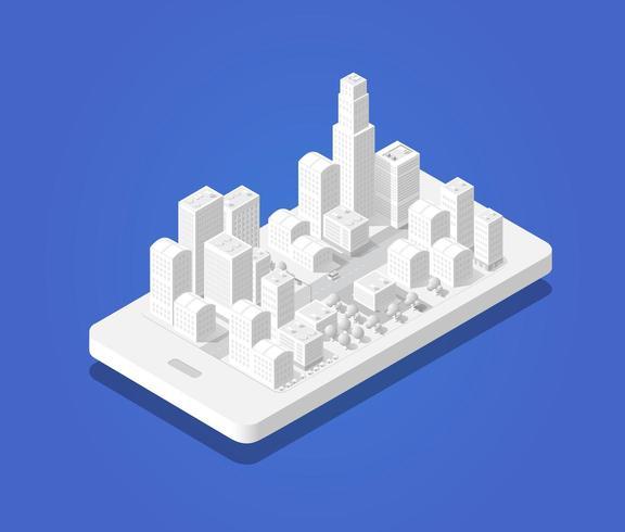 Mappa 3d città isometrica del navigatore mobile vettore