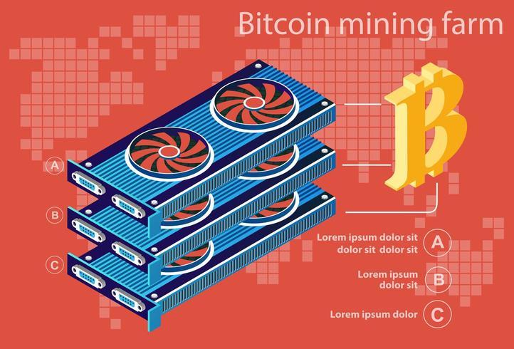 Bitcoin elettronico isometrico vettore