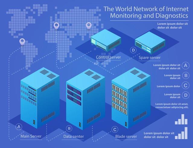 Server tecnologico per data center vettore