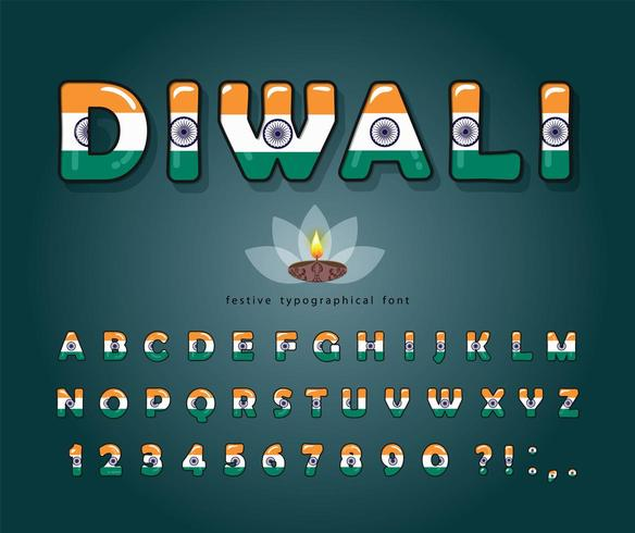 Carattere del fumetto Diwali. Colori della bandiera nazionale indiana. vettore