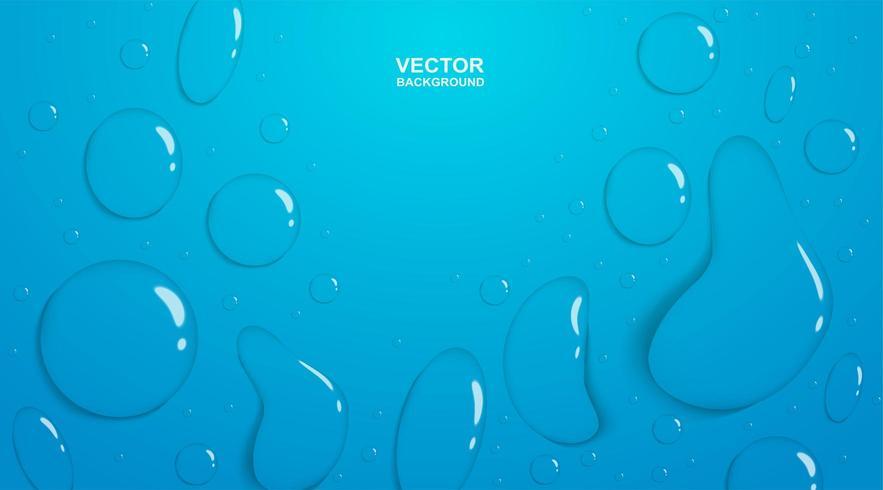 Gocce di pioggia sul gradiente blu vettore