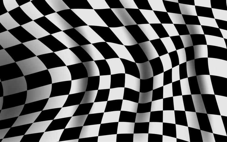 Bandiera a scacchi bianco e nero deformata vettore