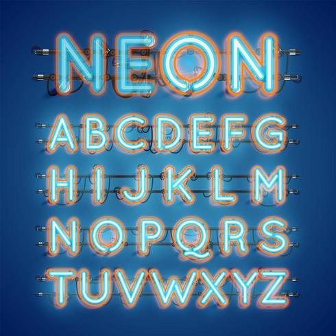 Accensione e spegnimento di caratteri al neon doppi luminosi realistici vettore