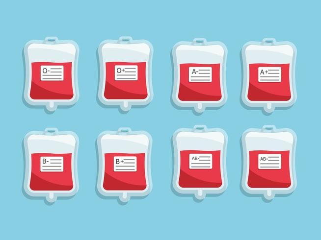 Sacca di sangue con etichetta del gruppo sanguigno vettore