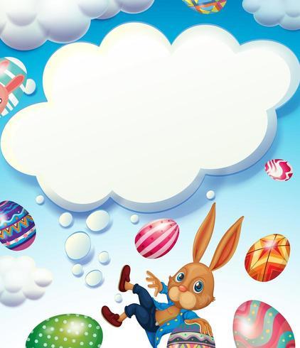 Tema di buona Pasqua con coniglietto nel cielo vettore