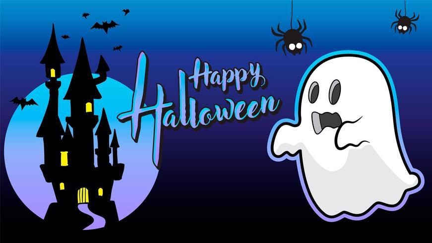 fantasma felice halloween sfondo blu vettore