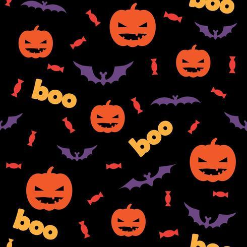 Seamless pattern di halloween con zucche, caramelle e pipistrelli vettore