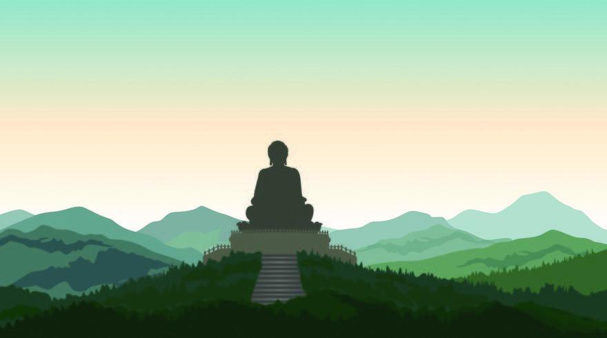 Buddha in meditazione statua silhouette vettore