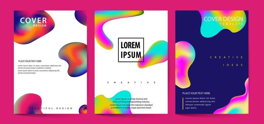 Set di copertine di colori fluidi. Forme di bolle colorate con sfumature. Design alla moda. vettore