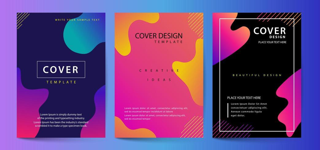 Set di copertine di colori fluidi. Bolla colorata con composizione di forme geometriche. Design minimal alla moda. vettore