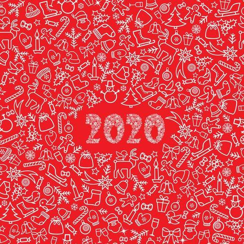Biglietto di auguri di Natale Capodanno 2020 vettore