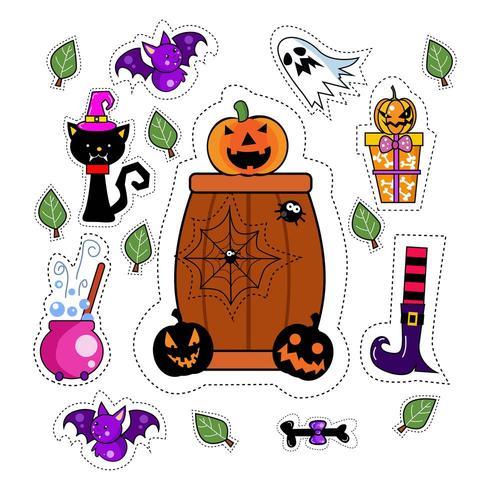 Set di patch adesivo icona di Halloween vettore