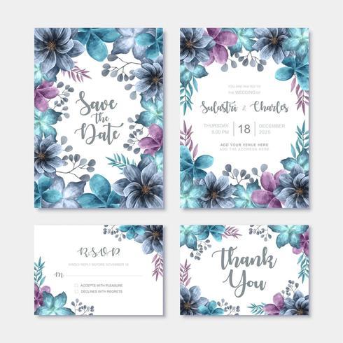 Modello di carta di invito matrimonio moderno impostato con decorazione floreale dell'acquerello vettore