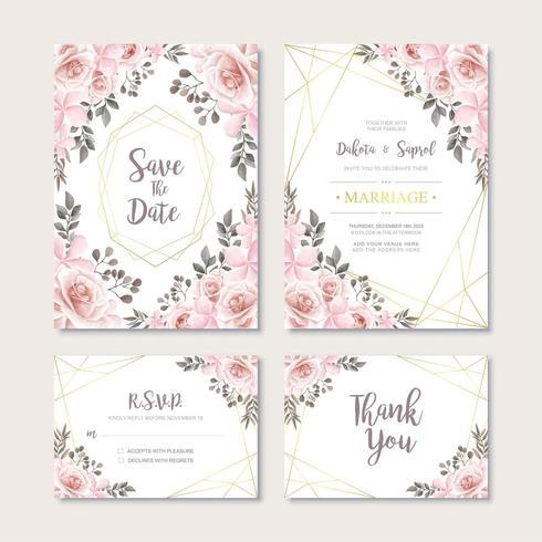 Carta di invito matrimonio vintage con modello di decorazione floreale dell'acquerello vettore