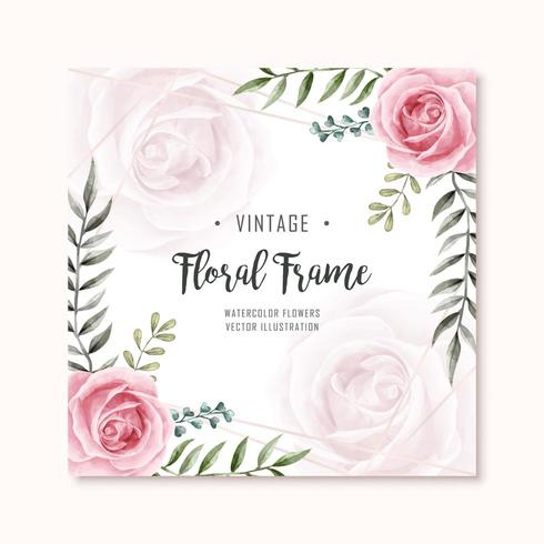 Acquerello Rose Flowers Frame Multipurpose Background vettore