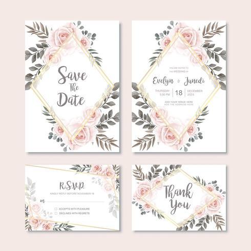Carta di invito matrimonio vintage con decorazione floreale dell'acquerello vettore