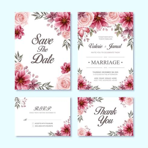 Set di carte di invito matrimonio di lusso con decorazione fiore rosso dell'acquerello vettore