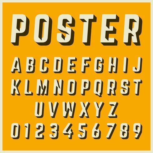 Progettazione di poster vintage modello di carattere alfabeto vettore