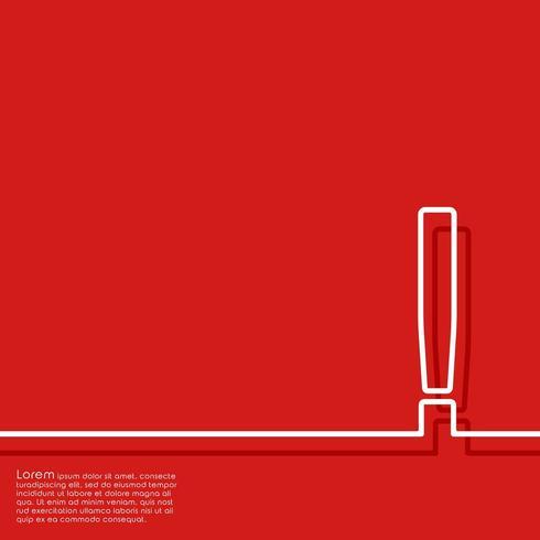 Astratto sfondo rosso con punto esclamativo. Illustrazione vettoriale